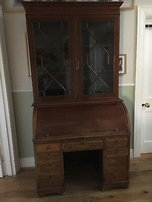antique roll top desk with bookcase
