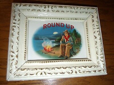 ROUND-UP COWBOY CAMPFIRE CONESTOGA WAGON Outer Cigar Box label 1920s  OLD!!!