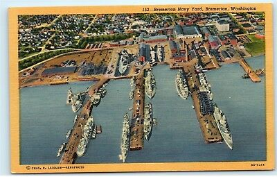 *Puget Sound Navy Yard Bremerton Washington Vintage Linen Postcard A82
