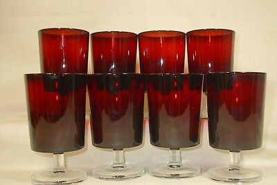 Vintage Set Of 8 Ruby Red Goblets/wine/water Clear Stems France