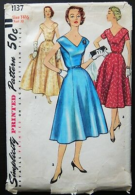 Vintage Original Simplicity 50's Evening/Dinner Dress Pattern No. 1137