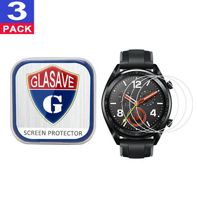 (3 Pack) GLASAVE Tempered Glass Screen Protector Film Save For Huawei Watch GT