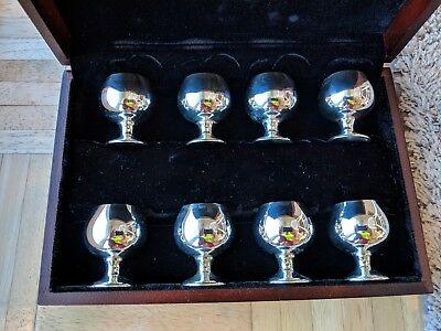 Set Of 8 Manchester Silver Sterling Silver Goblets W/ Wood Case-NO RESERVE PRICE