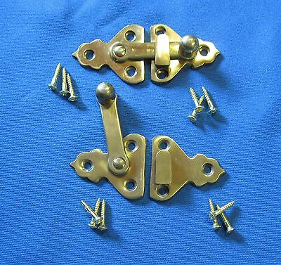 """Antique ICE BOX, """"LATCHES""""-Solid Brass-Flush Mount-Reproduction-NOS (2)"""