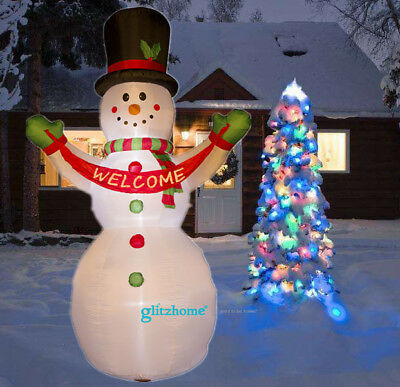 Glitzhome 11.81' Airblown Snowman Welcome Lighted Inflatable Outdoor Yard Decor