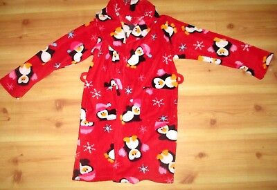 Sonoma Girl's Kid's Red Penguin Christmas Long Sleeve Plush Bath Robe Size 8