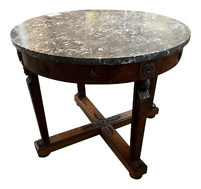 Empire Mahogany & Brass Gris Marble Center Table Ca. 1860, Owned Zsa Zsa Gabor