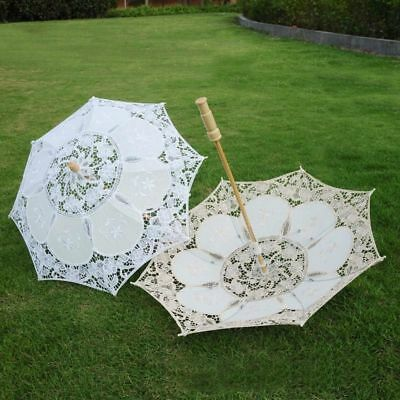 White Bridal Lace Vintage Women Parasol Sun Umbrella Decoration Wedding Party