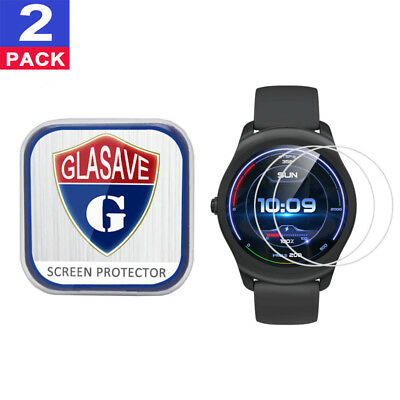 (2 Pack) GLASAVE Tempered Glass Screen Protector For Mobvoi Ticwatch 2 Active