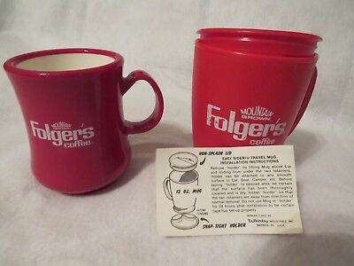 """Two Different Vintage Folger's Red Plastic Coffee Mugs - 3 3/4"""" & 4 1/4"""" Tall"""