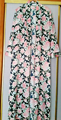 Vintage Givoni Size M (14-16) Floral Bed Robe Dressing Gown With Matching Belt