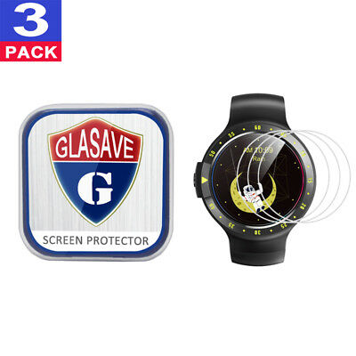 (3 Pack) GLASAVE Tempered Glass Screen Protector For Mobvoi Ticwatch S Sport