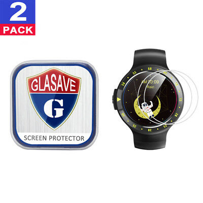 (2 Pack) GLASAVE Tempered Glass Screen Protector For Mobvoi Ticwatch S Sport