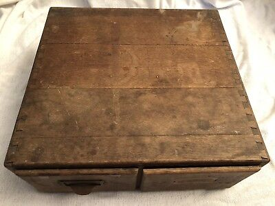 Antique 2 Drawer Dovetail Wood File Cabinet