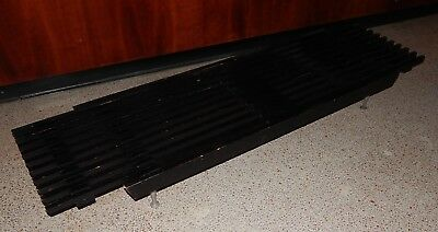 Vintage Mid Century Modern Black Slat Bench Metal Legs Expandable Coffee Table