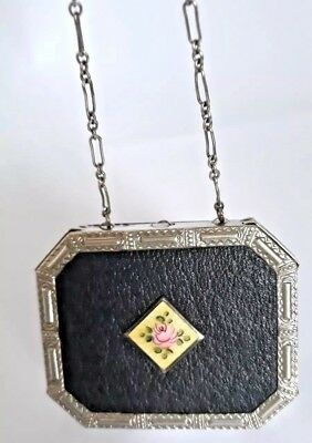 Vintage Art Deco Silver & Black Vanity Dance Compact with Guilloche Inset. See!