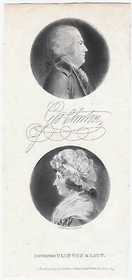 RARE Engraved Print NY Gov & VP George Clinton & Wife St Memin Portraits ca 1800