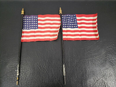 "Pair of Vintage Miniature 48 Star American Flags 5.5"" Wooden Poles"