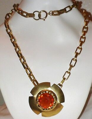 Lg Victorian Massive Style Brass Orange Glass Pendant Necklace Antique Vintage