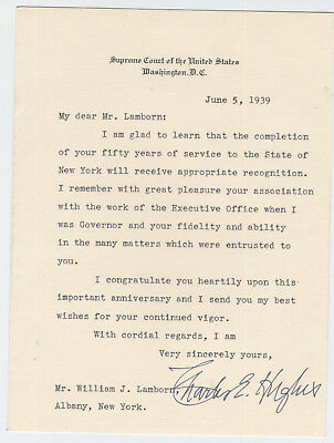 Chief Justice Charles Evans Hughes Signed Note Supreme Court. Stationary