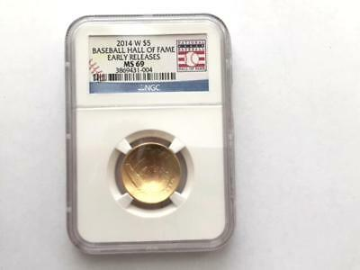 2014-W Baseball Hall of Fame $5 Gold NGC MS69 Early Releases