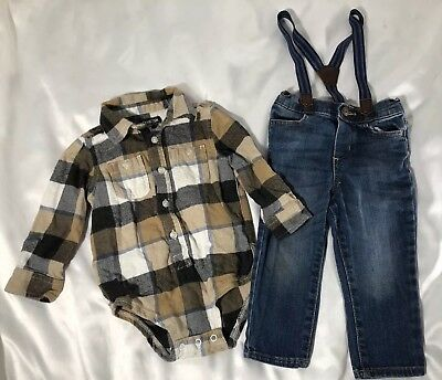 OshKosh Bgosh 18 Months Baby Boys Flannel Plaid Jumper Jeans Suspenders Outfit