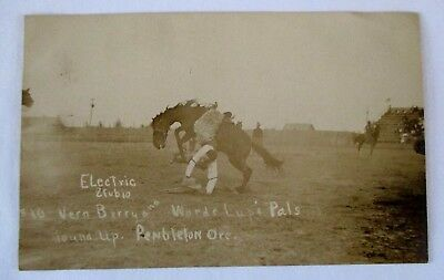 1900's Real Photo Postcard- Rodeo Round Up-Pendleton,ore-Cowboy Rider Horse
