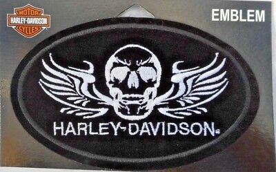 Harley Davidson Skull And Wings Black Silver Sew On Embroidered Patch Licensed