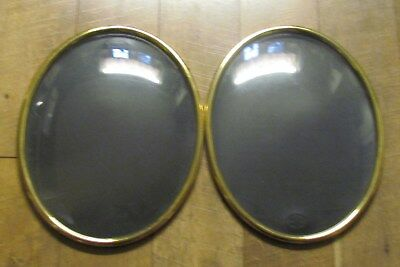 2 American Convex Antique Vintage Brass Metal Oval Picture Frame Glass 11 x 14