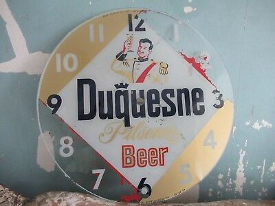 Rare Vintage Duquesne Beer Glass Clock Face Sign 1940s