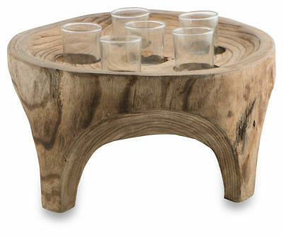 Paulownia Round Wood Tealight Holder / Shot Glass Party / Event 5 Holes