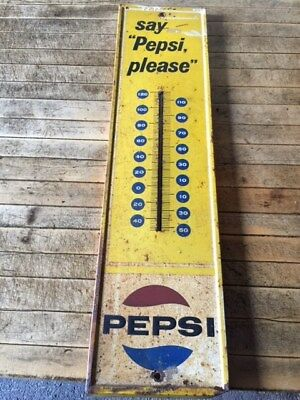 """Vintage 1960's PEPSI sign Thermometer  Say """"Pepsi Please""""  Advertising works"""