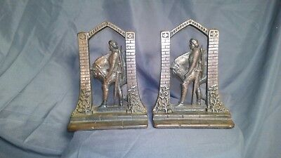 Vintage Art Deco Sir Galahad Knight And Horse Bookends- Cast Iron, Copper Plated