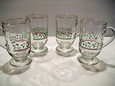 Set of 4 Libbey Footed Irish Coffee Mug Glasses Holly Berry Swirl Arby's