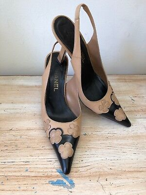 dd396d0e08e Chanel Classic Black And Beige Pointed Cap Toe Slingback Pumps Logo Flowers  37