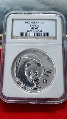 2003 Chinese Panda .999 Silver S10Y 1oz Coin - NGC Graded MS 69 - Please Read