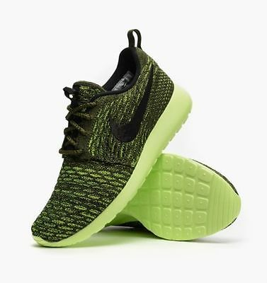 quality design faef5 1d780 Nike Roshe One Flyknit Women s Running Training Shoes Rough Green 704927 301