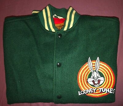 vtg Warner Bros Bugs Bunny Looney Tunes green, Yellow Leather jacket mens Large.