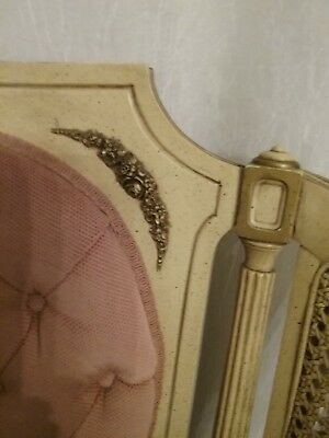 French provincial chair pair caned, upholstered lovely very good condition PINK