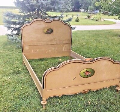 Antique 1920's French Style Full Size Bed Frame Painted
