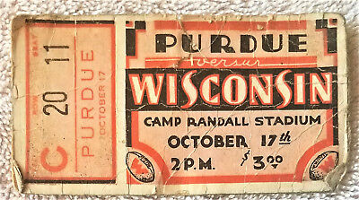 Wisconsin Badgers Vs Purdue Ticket Stub 10/17/1930`s Football Camp Randall