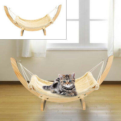 Cat Hammock Chair with Wooden Frame Siesta Large Cat Plush Swing Bed 71x35x33cm
