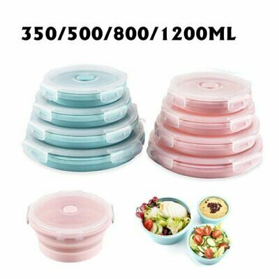 Non-toxic Silicone Collapsible Lunch Box Portable Folding Food Storage Container