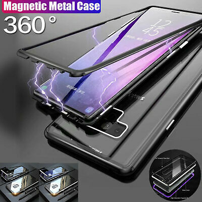 Magnetic Absorption Tempered Glass Metal Case Samsung S10 S10e S9 Plus Note 8 9