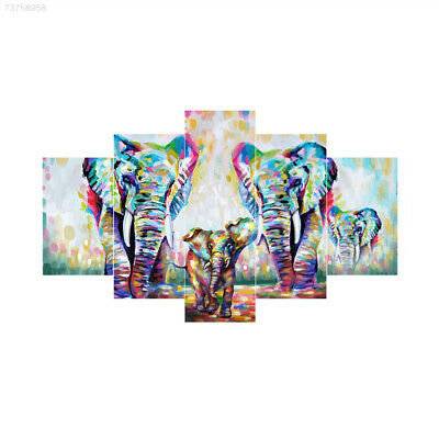 00EC 5Pcs/Set Colorful Elephant Joint Canvas Pictures Oil Painting Gift Art