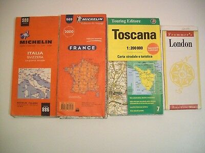 VINTAGE EUROPE HIGHWAY ROAD MAPS lot of 4  TRAVEL MICHELIN FRANCE Italy LONDON