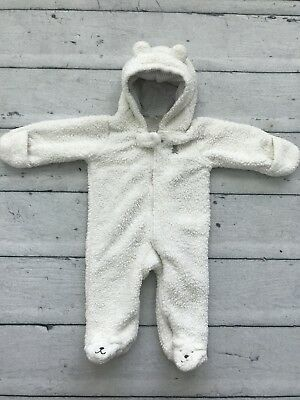 Carters Baby 6 Months Plush Sherpa Fur White Cold Weather One Piece Polar Bear