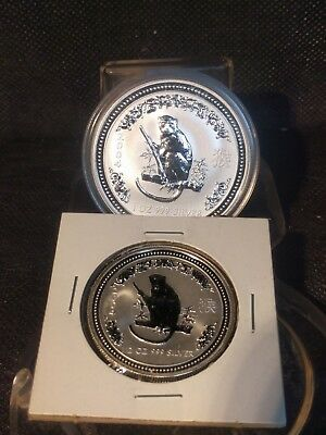 2004 AUSTRALIAN LUNAR YEAR OF THE MONKEY 1 oz and 1/2 oz SILVER COIN