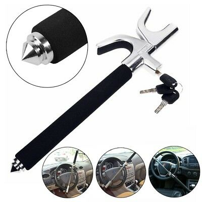 Universal Black Heavy Duty Car Steering Wheel Lock Anti Theft Clamp w/ 2 Keys