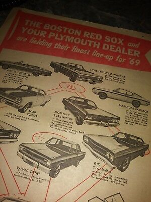 plymouth ad gtx roadrunner boston red sox 69 poster baracuda rare